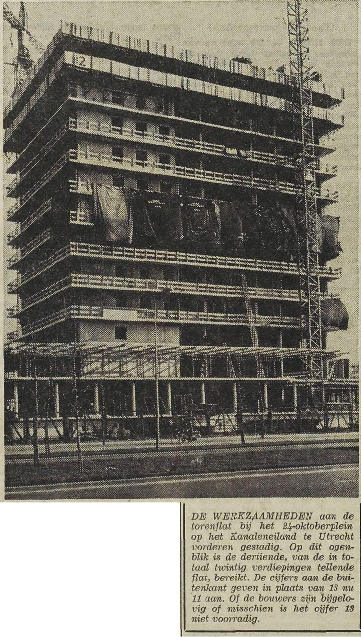 De torenflat aan het 24 Oktoberplein vordert gestaag. Maar is er nu een dertiende verdieping of niet? UN, 15 februari 1967, pagina 4