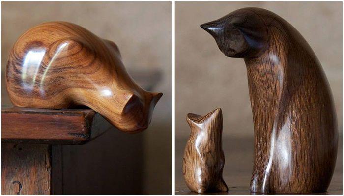Деревянные статуэтки Перри Ланкастера.Эти статуэтки выглядят настолько привлекательными, настолько совершенными по своей форме, что трудно поверить, что они сделаны из обычных брусков дерева, которые тоннами выбрасываются на производстве. Британский мастер по дереву превращает совершенно обычные деревяшки в настоящее произведение искусства - и любую его работу хочется не только рассматривать бесконечно долго, но и гладить, наслаждаясь каждым прикосновением.