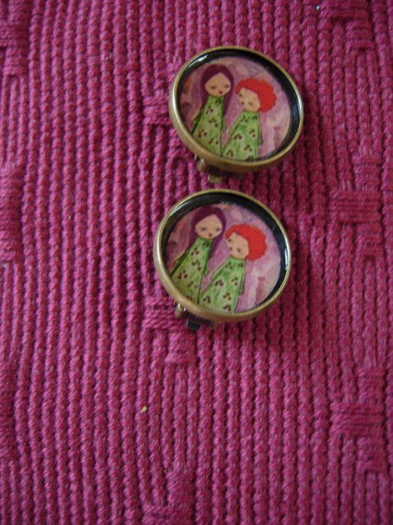 Lovely Days Mixed media art illustrated small earrings by eltsamp, $22.00