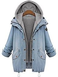 Women's Lapel Hoodie Plus Size Denim Coat Save up to 80% Off at Light in the Box with Coupon and Promo Codes.