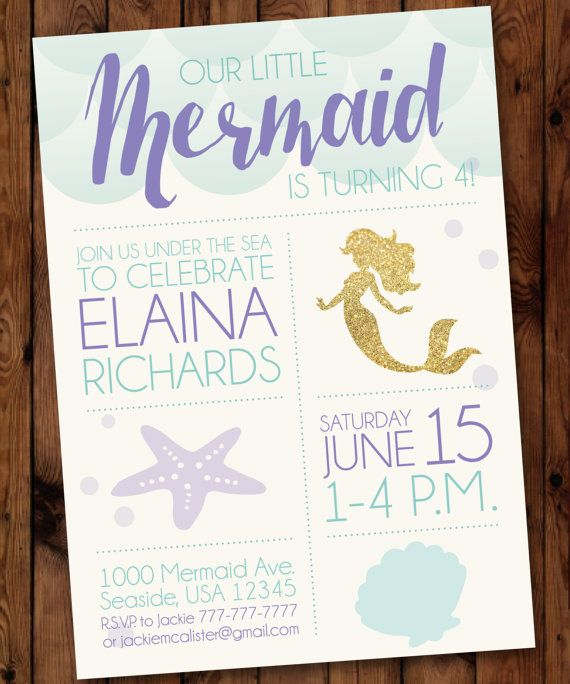 Little Mermaid Birthday Invitation Mermaid by PartiesbytheBundle