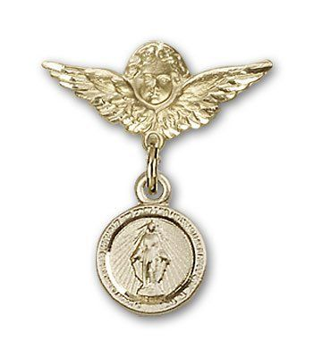 ReligiousObsession's Gold Filled Baby Badge with Miraculous Charm and Angel with Wings Badge Pin *** Visit the image link more details. (This is an Amazon Affiliate link and I receive a commission for the sales)