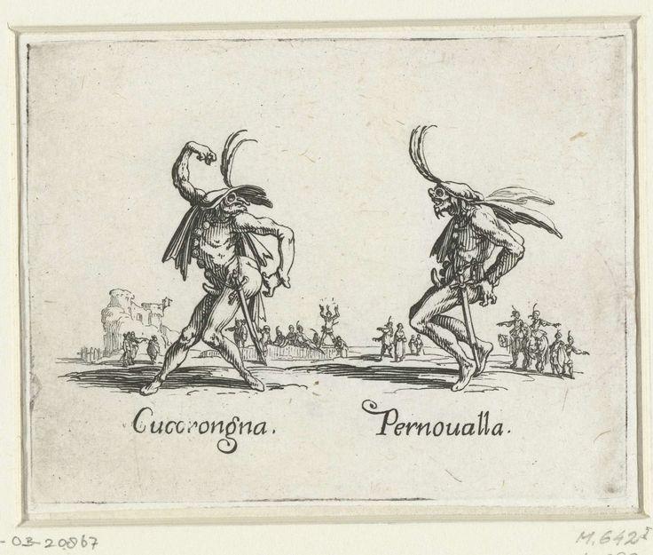 Jacques Callot | Twee straatartiesten als Cucorongna en Pernoualla, Jacques Callot, 1621 - 1622 | Twee artiesten met gevederde hoofddeksels op dansen naast elkaar. Onder de figuren staan hun namen genoteerd. Deze prent is onderdeel van een serie van 23 prenten (24 incl. titelprent) met telkens op de voorgrond twee straatartiesten verkleed als figuren uit de Italiaanse commedia dell'arte, en op de achtergrond toeschouwers die in de buitenlucht een (dans)voorstelling van straatartiesten…