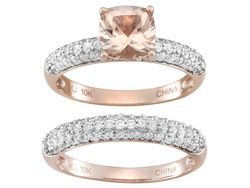 1.10ct Cushion Cor De Rosa Morganite (Tm) With 1.21ctw White Zircon 10k Rose Gold Ring With Band