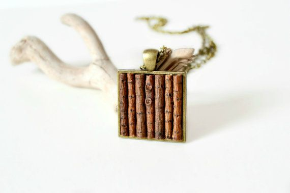 wood necklace, square necklace, geometric necklace, rustic, organic necklace, natural, brown, eco friendly jewelry on Etsy, $30.00