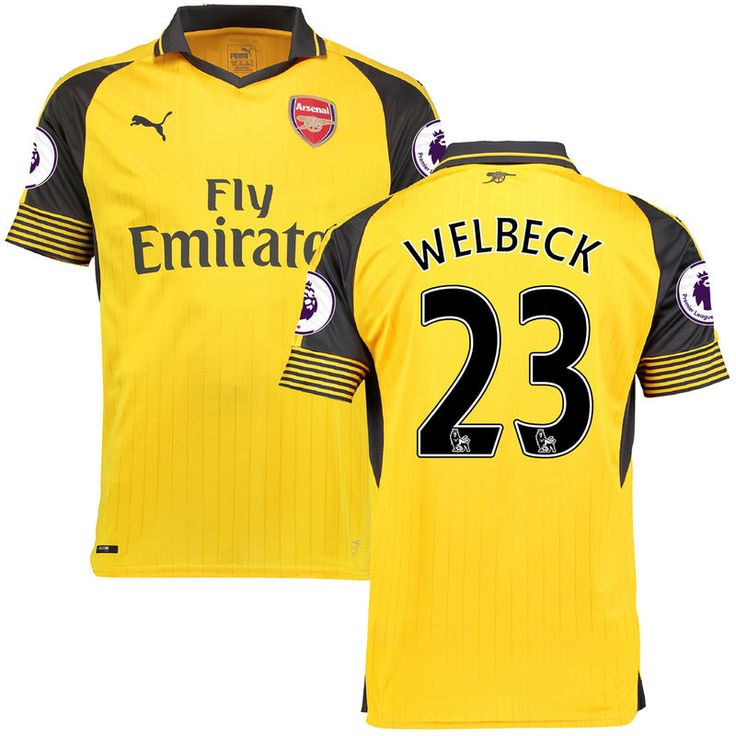 Danny Welbeck Arsenal Puma 2016/17 Away Replica Patch Jersey - Yellow