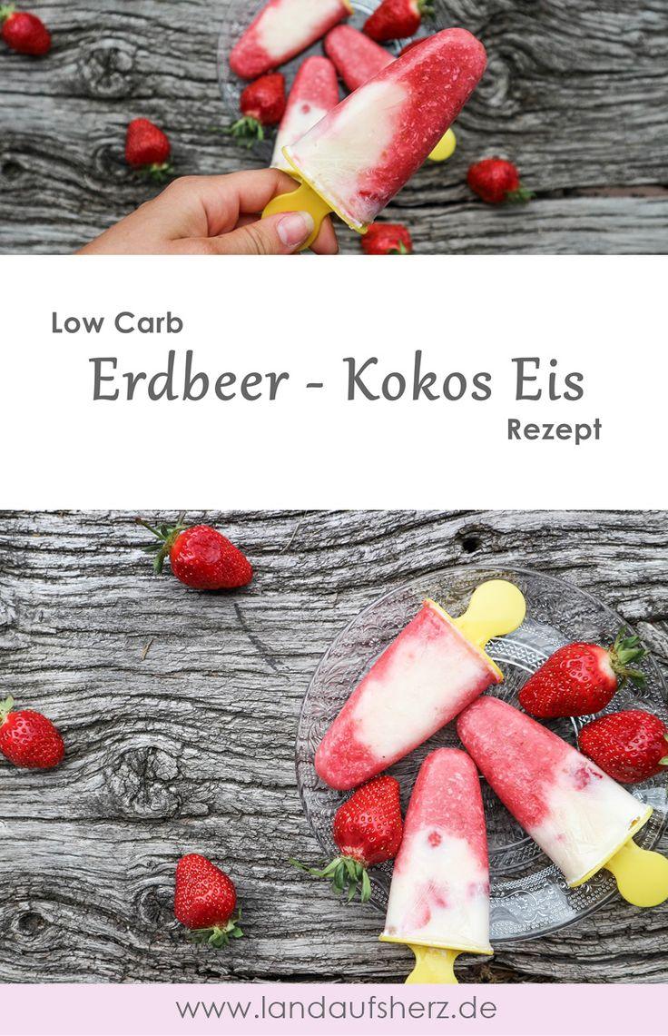 Low Carb Erdbeer - Kokos Eis ganz einfach zum selbermachen