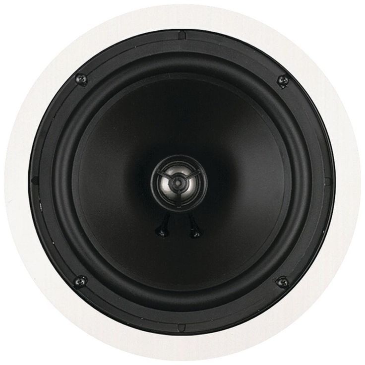 """Bic America 8"""" Muro Ceiling Speaker. 10W-125W per channel 8"""" woofer .75"""" poly dome tweeter Freq resp: 45Hz-21kHz Imp: 8ohm  White ABS plastic with white metal grille 2-way in-ceiling round speaker Dim: 9"""" dia 1-year limited warranty on parts & labor Each"""