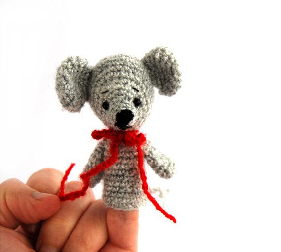 $21.32  MOUSE finger puppet, #crochet #animal #toy, #funny #toy for #little #kids, #pretend #play, #educational #puppet #theater, #crochet #mouse, #amigurumi #pet