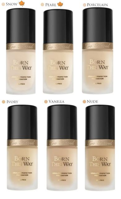 """All you need to know about the new foundation line by too faced cosmetics """"Born This Way"""" Plus a detailed chart with all the shades that are available and the shades that are coming this autumn. - Reem Noobo (MakeupForLunch)"""