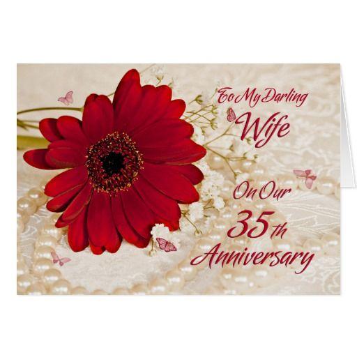 Wife on 35th wedding anniversary, a daisy flower card