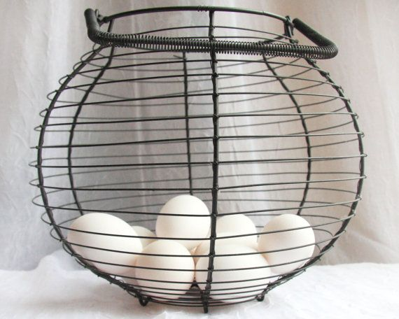 Wire Egg Basket Antique French Kitchen Decor in by atVintage, $33.00