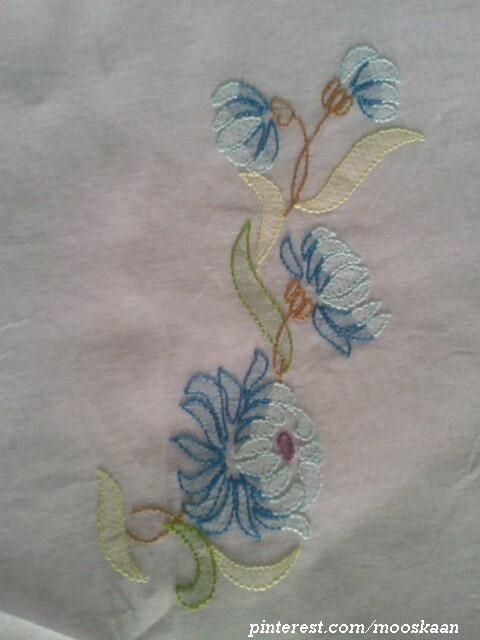 Shadow-work / Lucknow Chikan embroidery - Single Motif in blue on sari pallu, using Anchor Embroidery thread...... (Series 1-G)