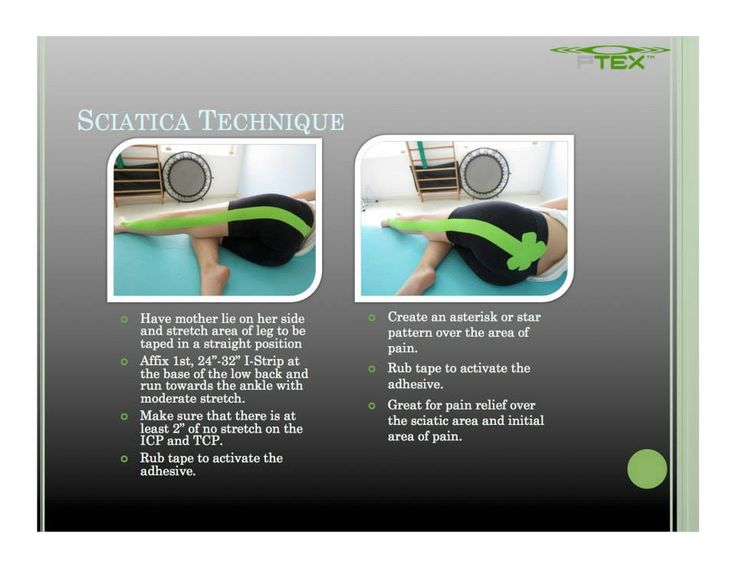 Sciatica. Great for sciatica pain.  PerformTex kinesiology tape is available at http://www.theratape.com/performtex-tape.html