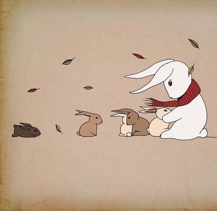 Bunny rabbit art print, White rabbit bunny wall art, autumn wind, Bunny love painting print for sale 12x16 Elena Romanova LeniSomnia. $40.00, via Etsy.