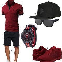Schwarz-Rotes Herren-Outfit mit Glestore Poloshirt, Sonnenbrille, Djinns Cap, Adidas Sneakern, Detomaso Uhr und Indicode Shorts.