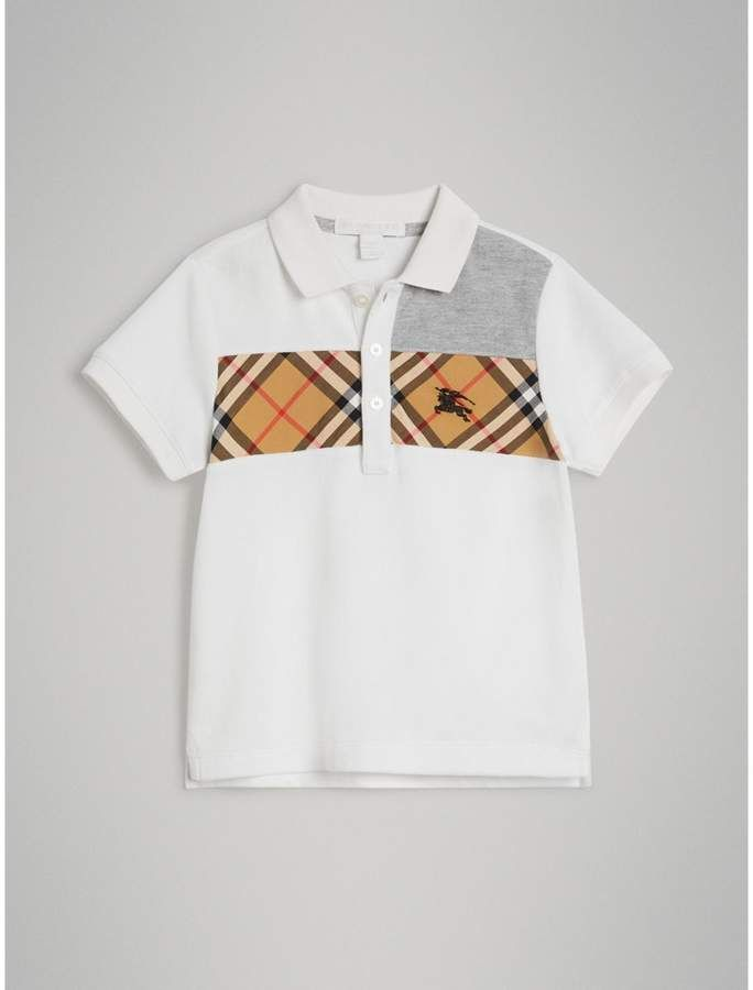 530a42c5e32e Vintage Check Panel Cotton Polo Shirt  detail piqu inspired