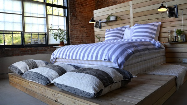 """""""Sommar med Ernst"""" a Swedish interior design show that redid a former power station..this is the bedroom.."""
