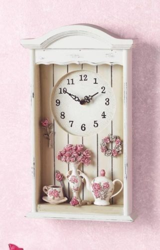 Victorian Tea Set Shadow Box Wall Clock Cottage Floral Antique 3D French Decor