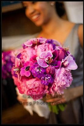 #bouquet, featuring pink and purple orchids, anemones, tulips, callas and peonies