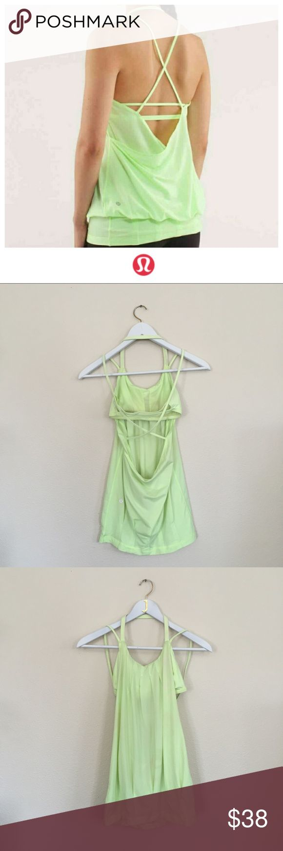 Lululemon Flow and Go Tank Used condition Lululemon Flow and Go tank. Plenty of life left and so cute on! See photos for condition (price reflects this). Hope you enjoy! 😘 (First photo is a stock photo to show fit -- such a good and slimming look on!) lululemon athletica Tops Tank Tops