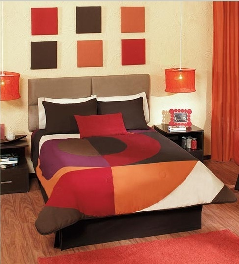 Boys Brown And Orange Bedding: 5 PC Red,Orange & Brown Full,Queen And King Size
