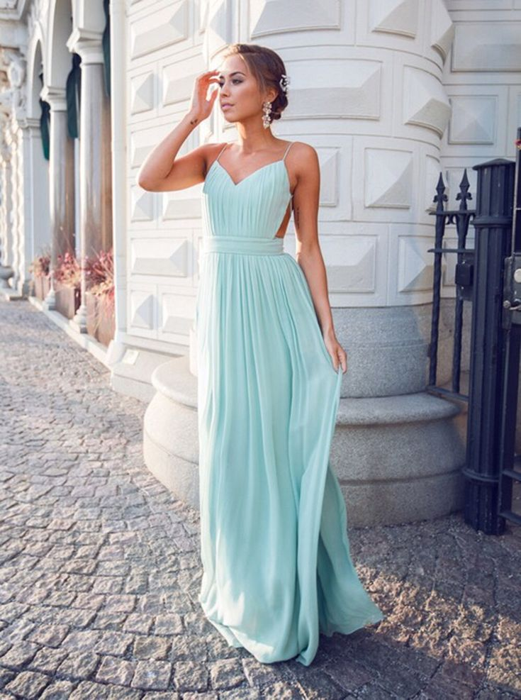 Buy Sexy V-neck Spaghetti Straps Floor-Length Open Back Mint Homecoming Dresses Ruched 2016 Homecoming Dresses under US$ 116.99 only in SimpleDress.