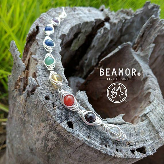 Chakra gemstone bracelet. Check out this item in my Etsy shop https://www.etsy.com/au/listing/470646460/chakra-gemstone-bracelet-wire-wrap