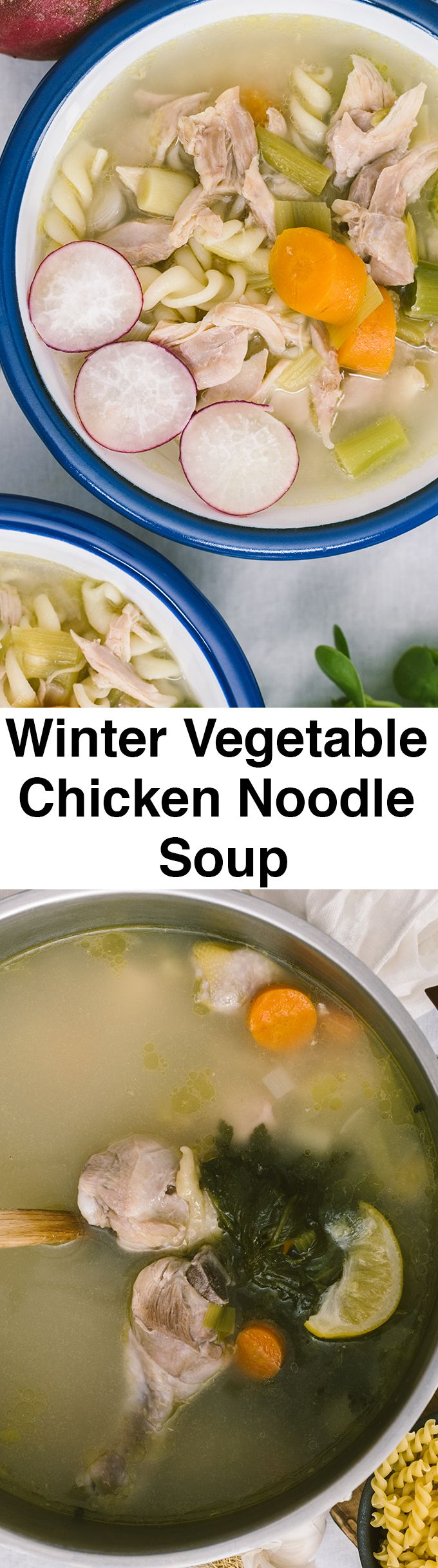 Winter Vegetable Chicken Noodle Soup is full of flavors. Packed with chicken, winter vegetables and noodles, this is a perfect recipe to get back to a healthy diet after all the heavy holiday food.