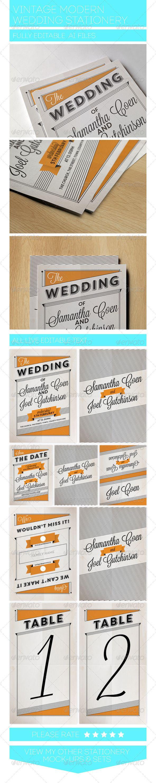 Vintage Modern Wedding Stationery Set
