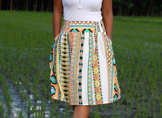 Orange Tribal Skirt, Midi Skirt in Tribal Pattern, Colorful Tribal Skirt with Pockets by LoNaDesign on Etsy