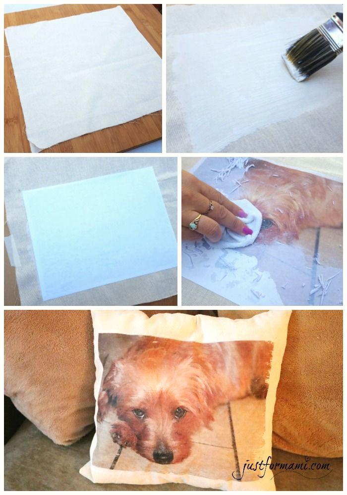 DIY Funda de Almohada con foto de tu Perro. Una forma fácil de tranferir una foto en tela para hacer una manualidad de decoración para el hogar. #FeedDogsPurina #ad #CollectiveBias @target @Purina