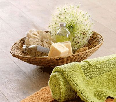 Bathroom Decorating, Nature Inspired Brown-Green Color Combination