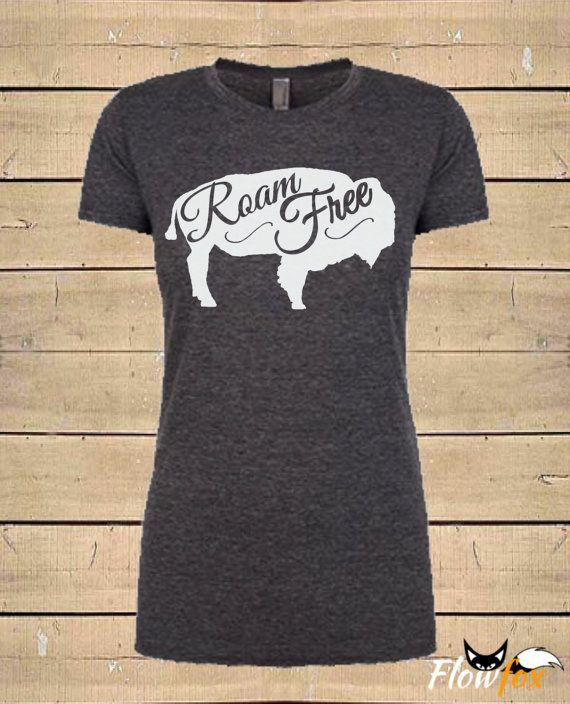 ROAM FREE BUFFALO T-Shirt. Buffalo Shirt Native by FlowfoxDesigns