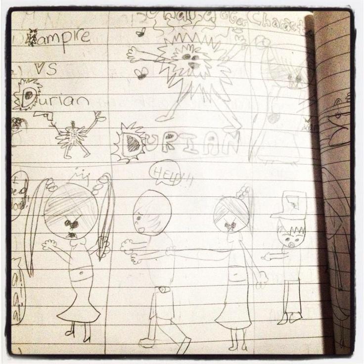 A Comic Sample of 'Vampire VS Durian' by Maya (Age 8)