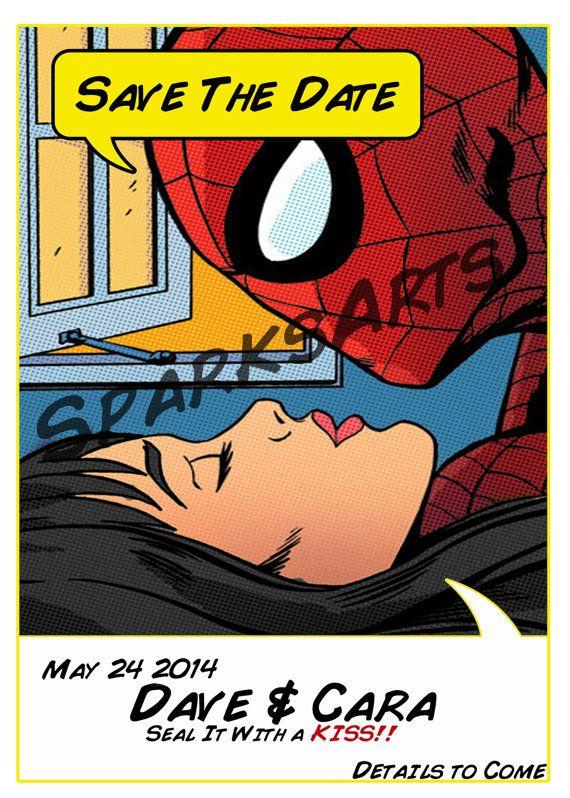 spiderman superhero wedding invitation save the date custom printable invite by sparksarts 4000 - Superhero Wedding Invitations