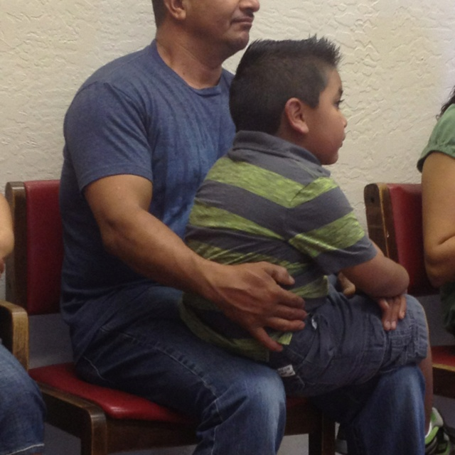 Love him he is such a good father....they were waiting at the Doctor's office patiently ❤: The Doctor