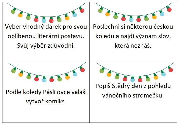Pro učitele i rodiče jsme připravili adventní kalendář s úkoly, které zábavným způsobem procvičují znalosti českého jazyka a literatury. Využít je lze na 1. i 2. stupni základní školy. Zkuste si zpříjemnit čekání na Ježíška našimi netradičními úkoly.