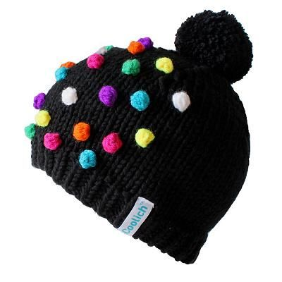 Handmade beanies with multicolor dots made from merino wool.