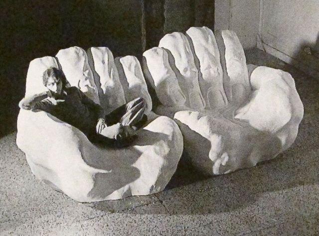 """Gaetano Pesce  """"Il Pugno (si e dischiuso, ecc....)""""  Plaster prototype of a two-seat sofa  1971-72"""