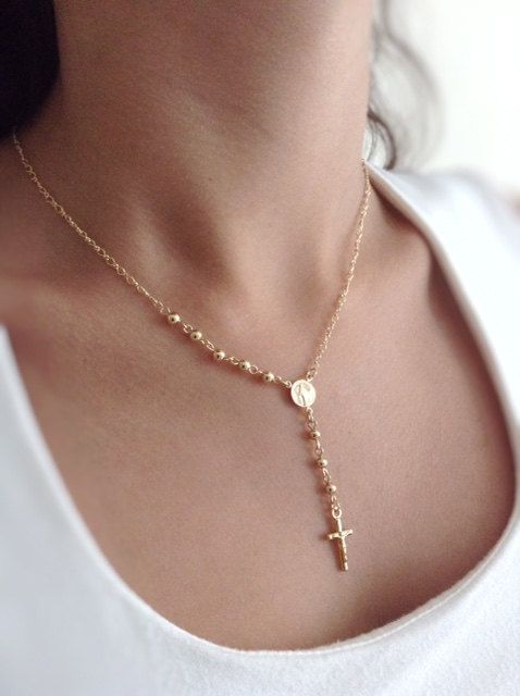 Delicate Gold Rosary Necklace Cross Rosary Necklace Gold crucifix Pendant, Rosary, Catholic Rosary, Gold Cross Necklace, Religious Jewelry