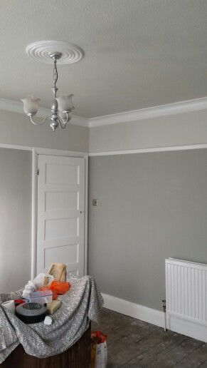 Grey living room. Dulux misty mountain, pebble shore and white cotton ...