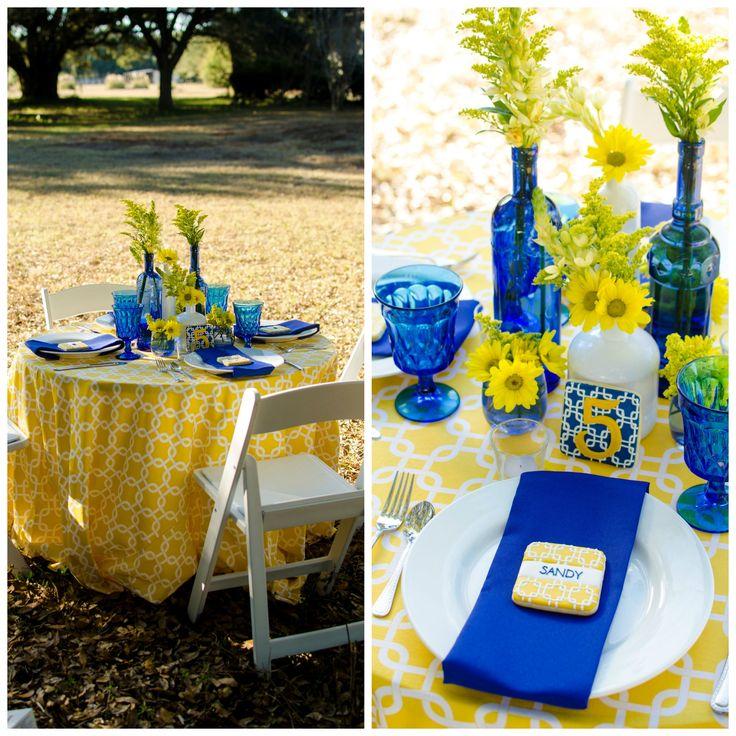 296 best blue and yellow wedding images on pinterest weddings bridal shower tablescape cobalt blue and yellow tablescape cobalt blue and yellow wedding junglespirit Images