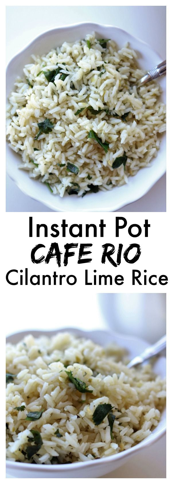 Instant Pot Cafe Rio Cilantro Lime Rice–this quickly cooked seasoned rice made in you pressure cooker is just like Cafe Rio's and it makes the perfect addition to any Mexican dish for dinner.