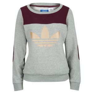 adidas Originals Art Crew Sweatshirt - Womens - Medium Grey Heather/Light Maroon/Tech Gold
