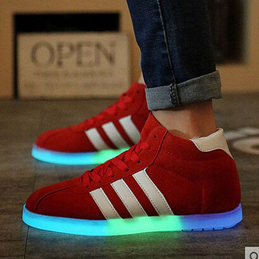 Thick Soled Appealing Casual Couple Bandage Fashion Flash Light Up Adult Shoes Preppy Stars Male Led Boots Tenis Skate Various