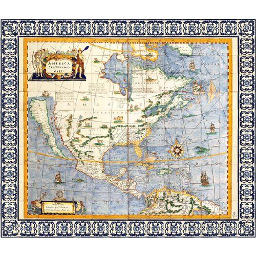 MAPA DE AMÉRICA SEPTENTRIONAL  Largo: 252 cm Alto: 216 cm