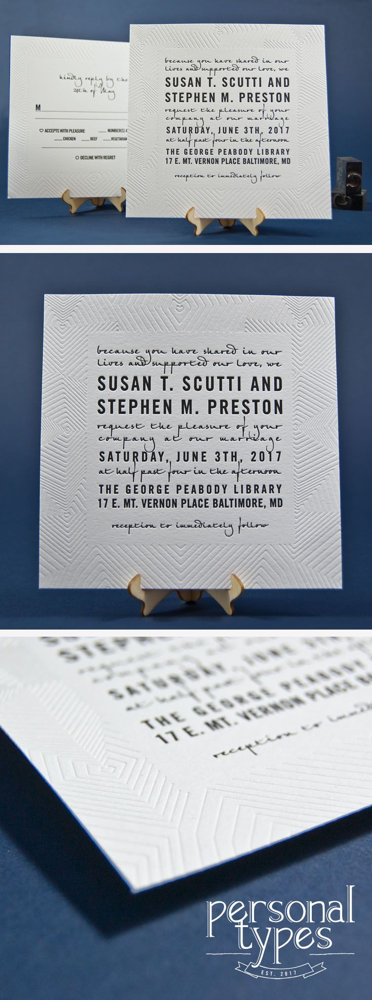 Modern Letterpress Wedding Invitation - This wedding suite not only has a clean, modern look, but each piece of this suite has an art deco heart texture pattern border surrounding all sides.