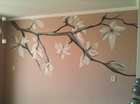 muurschildering woonkamer magnolia takken
