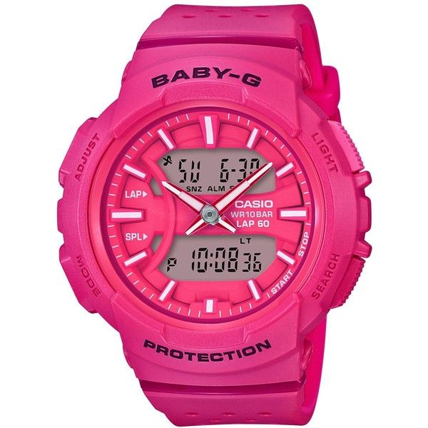 G-Shock Women's Analog-Digital Baby-g Pink Resin Strap Watch 43mm (£77) ❤ liked on Polyvore featuring jewelry, watches, pink, ana-digi watches, analog digital watches, g shock wrist watch, g shock watches and pink jewelry